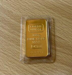 ブランド品&金・プラチナ買取マート豊田ギャザで買取した、貴金属 24金スイスバンクインゴット