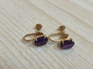 ブランド品&金・プラチナ買取マート豊田ギャザ店で買取した貴金属、18金アメジストイヤリングです